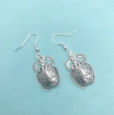 Egyptian Sacred Beetle Dangle Silver Earrings.