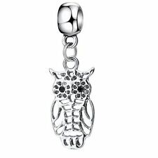 SILVER OWL DANGLE CHARM BEAD FOR CHARM BRACELET, NECKLACE