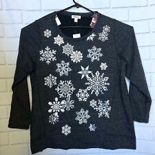 Style & Co Womens 1X Snowflake Sweatshirt Gray Long Sleeve Sparkle Heathered New