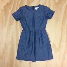 Madewell Chambray Songbird Dress Size 0 Blue Cotton Linen Blend Full Skirt