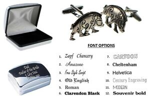 Pewter Celtic Boar Cufflinks Personalised Chrome Engraved Case XWCL049-DCB