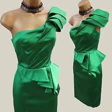 KAREN MILLEN Green Signature Satin One Shoulder Pleat Cocktail Pencil Dress 10