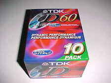 TDK D60 All Purpose Blank Audio Cassette Tape High Output IEC1 MCM 10 Pack NEW