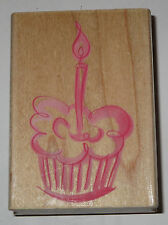 Cupcake Candle Rubber Stamp Birthday Treats Dessert Frosting Party Wood Mounted