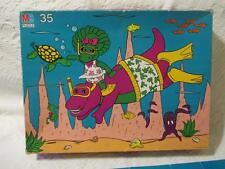 """Barney Purple Dinosaur Baby Bop 35 Pc Floor Puzzle 22""""X17"""" Snorkeling Diving Sea"""