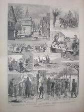 Rhine floods Hesse - Darmstadt Germany 1883 old prints