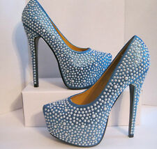 Machi Beaded Pumps Women Shoes Size 8 Blue Absolutely Stunning  *