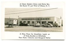 Olean NY Ice Cream Meadowbrook Dairy Old Wagon & Cars RPPC Real Photo Postcard