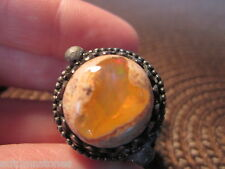 SZ 7 1940's VINTAGE Sterling 16mm MEXICAN CANTERA ORANGE FIRE OPAL Ring