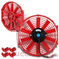 "RED 12"" SLIM FAN HONDA ACURA PUSH PULL ELECTRIC RADIATOR COOLING 12V 1730 CFM"