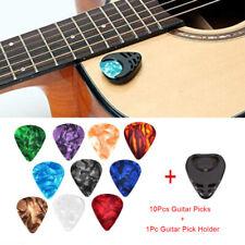 10Pcs Plectrums 1 Pick Holder Electric Celluloid Acoustic Guitar Picks Color JG