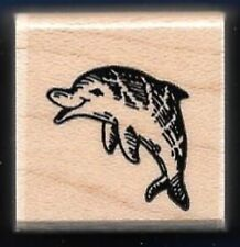 DOLPHIN JUMPING A84 Sea Life Scene card gift tag STAMPENDOUS! 1989 RUBBER STAMP