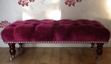 A Quality Long Deep Buttoned Footstool In Laura Ashley Caitlyn Berry Fabric