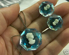 VINTAGE 925 STERLING SILVER LUCTE BLUE CAMEO NECKLACE PENDANT/EARRINGS SET