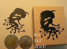 Cling Mounted P63 Fairy on moon silhouette rubber stamp
