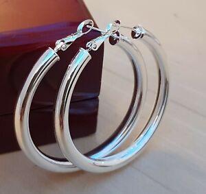 Stamped 925 Sterling Silver Plt Plain Large 55mm Chunky Creole Hoop Earrings