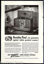 1947 ZENITH TRANS-OCEANIC Radio advertisement, Trans-Oceanic 8G005Y shortwave