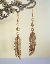 Large Golden Feather Charm and Bead Dangly Earrings - Ethnic Boho