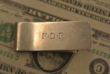 Vintage Cartier Sterling Silver Money Clip Monogram ( F D R ) 21.5g