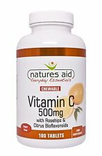Natures Aid Vitamin C 500mg Sugar Free Chewable (with Rosehips & Citrus)100 Tabs