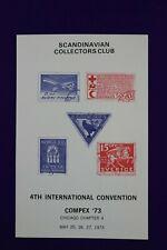 Compex 1973 convention Scandinavian Collectors Club Philatelic Souvenir card