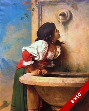 YOUNG ROMAN GIRL DRINKING FROM A FOUNTAIN PAINTING ROME ART REAL CANVAS PRINT