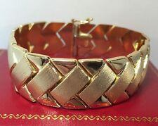 "Vintage 14k Yellow Gold Panther Artisan Wheat Braided Chain Link Bracelet 7"""