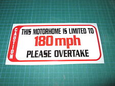 SPEED LIMITED DECAL MOTOR HOME CAMPER VAN STICKER 180 MPH LE MANS