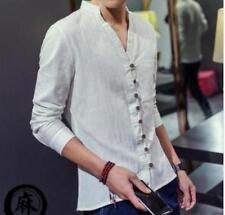 Men's Loose Cotton Linen Fabric V-neck Buttons Autumn Shirts Long Sleeve Shirts@