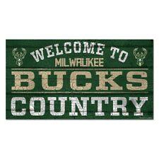 "MILWAUKEE BUCKS WELCOME TO BUCKS COUNTRY WOOD SIGN 13""X24'' WINCRAFT"
