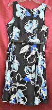 ELLE Sleeveless Lined Belt Zip Fit & Flare Knee Dress Black Blue White Floral 14