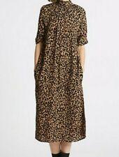 M&S LIMITED EDITION Animal Print Half Sleeve Shift Midi Dress Size 14 REGULAR