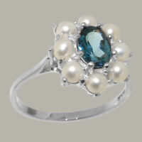 925 Sterling Silver Natural London Blue Topaz & Full Pearl Womens Cluster Ring