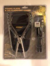 "Fishing 7.5"" Pliers Flashlight Combo Nonslip Rubber Grip Handle Lanyard"