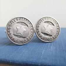 KANSAS CITY Transit Token Cuff Links - Vintage KC Silver Tone Repurposed Coins