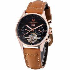 Automatic Mechanical Men Wrist Watch Leather Strap Tourbillon Luminous Dial Date