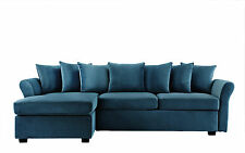 Modern Velvet Sectional Sofa - L Shape Couch with Chaise Lounge (Blue)