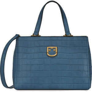 Woman handbag Furla Belvedere small Tote 1007958 in blue leather shoulder bag