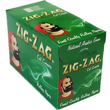 GENUINE Zig Zag Green Cigarette Rolling Papers 100 Booklets Full Box Cut Corners