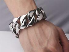 【FROM USA】30mm Rocker Biker Cuban Curb Silver 8.5 inch Stainless Steel Bracelet