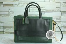 Coach F27994 Green+black+tan / B4/OL Leather Tote Bag Ghw - Authentic