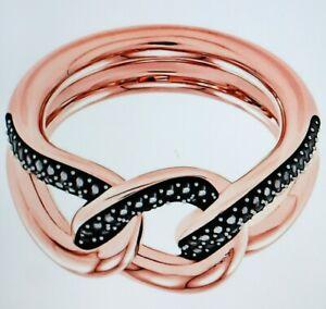 Swarovski Lane Ring, Black, Rose Gold Coloured Plated Gr.58 New