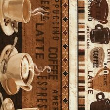 Timeless Treasures Cafe Au Lait by Janelle Penner C5731 Coffee Border COTTON FAB