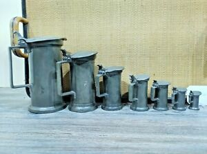 FRENCH PEWTER LIDDED MEASURES X7 GRADUATED ART NOUVEAU BEAUTIFUL JUGS FREE P&P