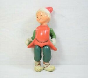 Vintage Celluloid Kid Boy Doll Winter Outfit Red Hat Green and Red Costume