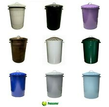 90L LARGE COLOURED METAL BIN TRASH CAN DUSTBIN WASTE HORSE ANIMAL FEED WITH LID