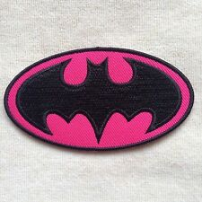 SUPER HERO BATMAN BAT MAN GIRL EMBROIDERY IRON ON PATCH BADGE #PINK