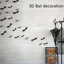 12Pcs 3D Halloween Hot Style Black Bat Decor Vinyl PVC Wall Stick Decor