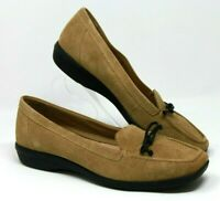 Clarks Size 9 Tan Brown Suede Slip On Leather Loafer Comfort Women's Shoes