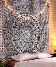 Black White Queen Bed sheet Boho Mandala Tapestry Art Indian Elephant Bedspread